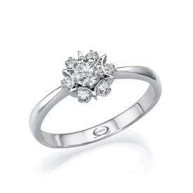 טבעת סוליטייר בדוגמת פרח
