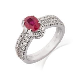טבעת אירוסין רובי ויהלומים