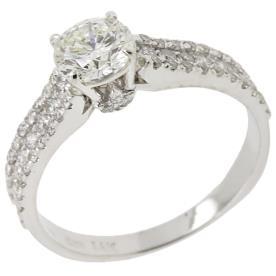טבעת אירוסין צרה זהב לבן