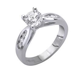 טבעת אירוסין ריבעיית יהלומים בצד