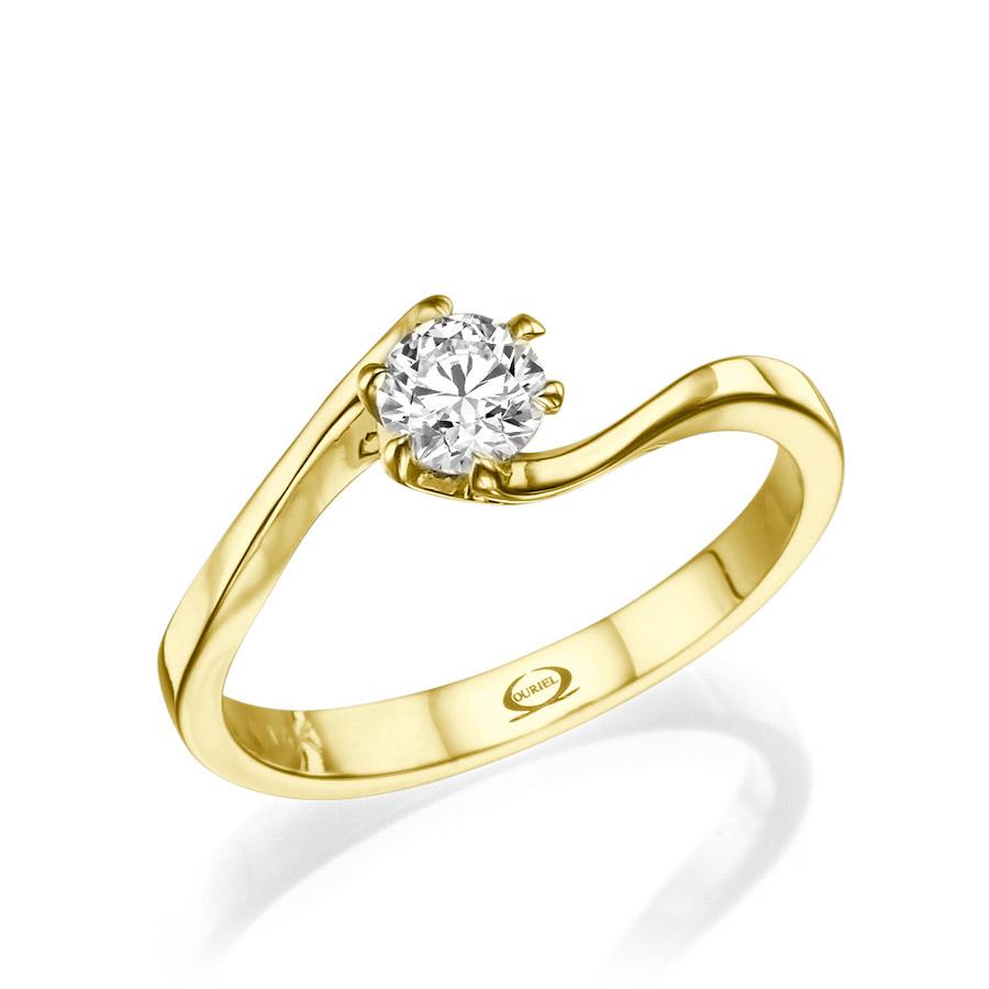 טבעת אירוסין סוליטייר מעוקלת