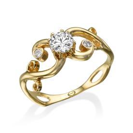 טבעת ספירלה רחבה משובצת