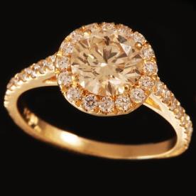 טבעת אירוסין מזהב יהלום עגול
