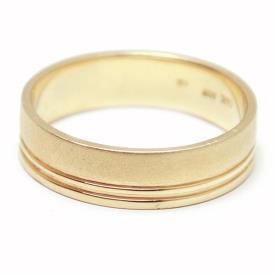 טבעת נישואין זהב צהוב פסים