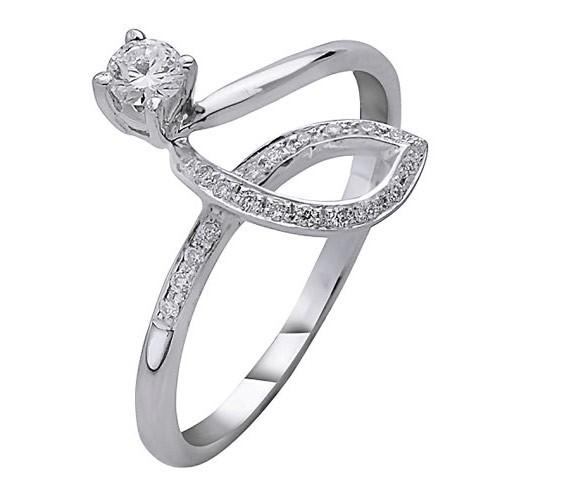 טבעת אירוסין זהב לבן מפותל