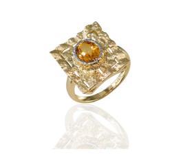 טבעת אירוסין זהב צהוב וסיטרין