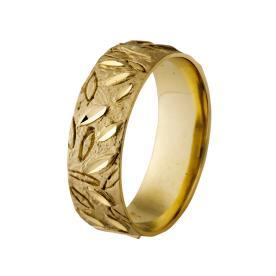 טבעת חריטות בדוגמת עלים