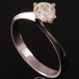 טבעת אירוסין זהב לבן יהלום עדין