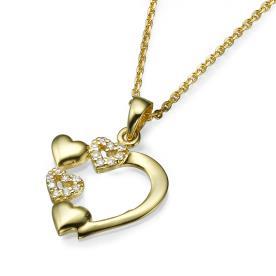 תליון לבבות משובץ יהלומים