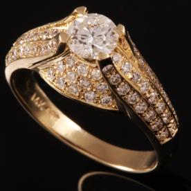 טבעת אירוסין זהב צהוב טרפז