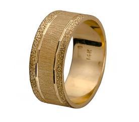 טבעת נישואין זהב צהוב עם ריקועים