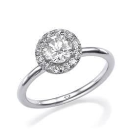 טבעת אירוסין: תכשיט לאישה, תכשיט מזהב לבן, תכשיט בסגנון צר, תכשיט בעיצוב עדין, תכשיט בעיטור לב, יהלומים - אוריאל תכשיטים