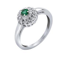 טבעת אירוסין עם אמרלד ויהלומים