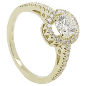 טבעת אירוסין זהב צהוב עם חתכים