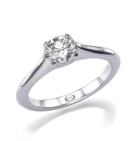 טבעת סוליטייר מודרנית מזהב לבן