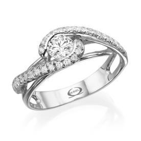 טבעת אירוסין יהלומים חובקים
