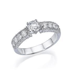 טבעת אירוסין יהלומים גדולים בצד