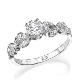 טבעת אירוסין וינטאג' פרחונית