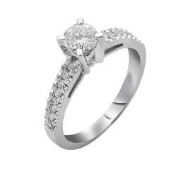 טבעת אירוסין ריקוע גלי ויהלומים