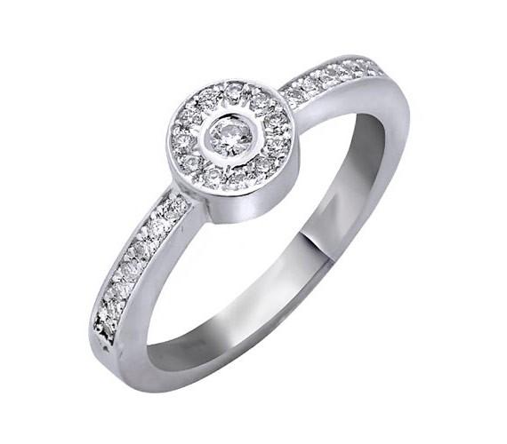 טבעת אירוסין עיגול יהלומים שטוח