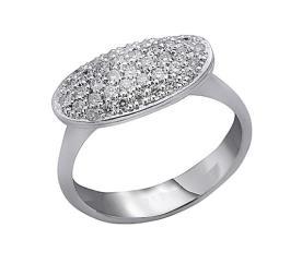 טבעת חותם בצבע כסף עם יהלומים