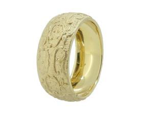 טבעת מחוספסת עם דוגמת תחרה