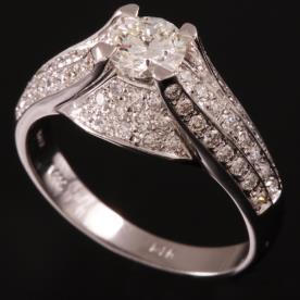 טבעת אירוסין טרפז יהלומים