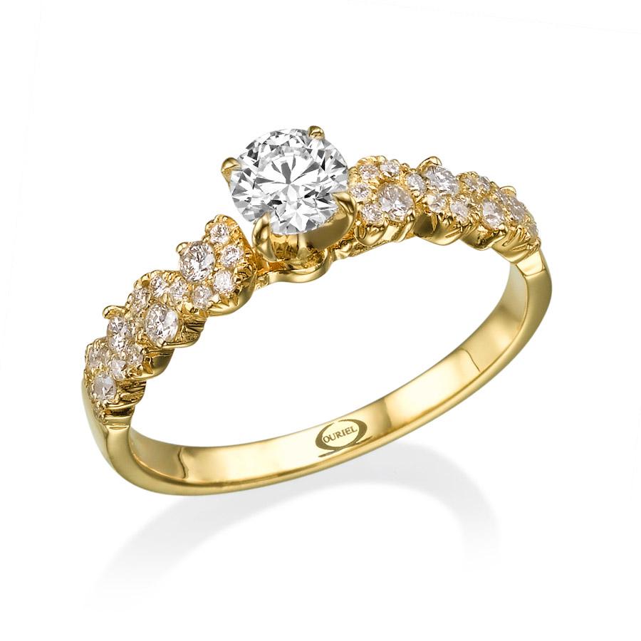 טבעת זהב צהוב בעיצוב רומנטי