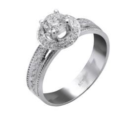 טבעת אירוסין יהלום וסביבו טבעת
