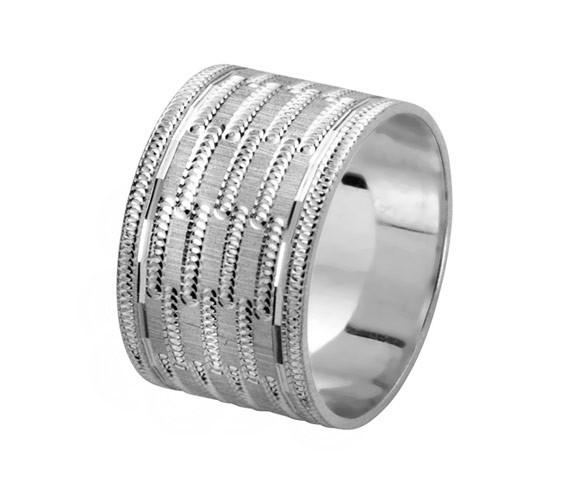 טבעת נישואין זהב לבן רחבה