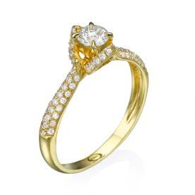 טבעת אירוסין עם יהלומים משובצים