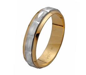 טבעת נישואין זהב לבן וצהוב