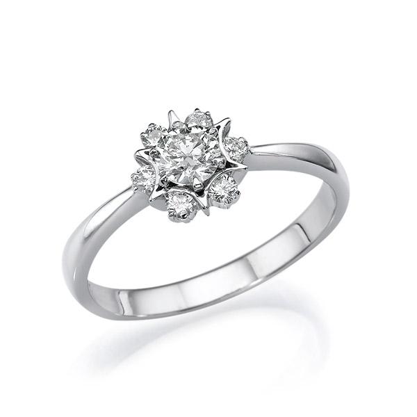 טבעת אירוסין שיבוץ יהלומים לפרח