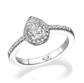 טבעת אירוסין יהלום טיפה