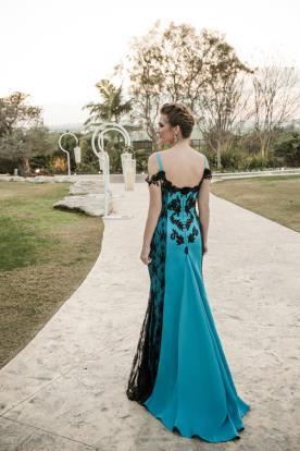 שמלת ערב טורקיז גב פתוח
