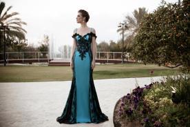 שמלת ערב אוף שולדר טורקיז