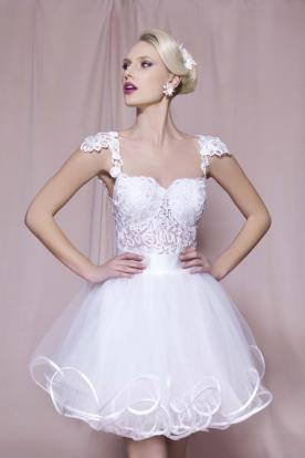 שמלת כלה מיני עם שוליים מסולסלים