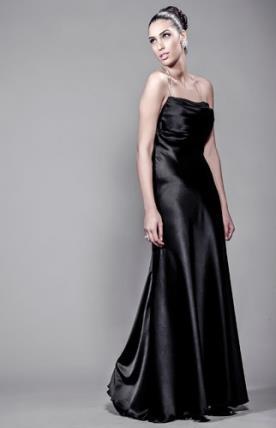 שמלת ערב סאטן עם גב פתוח