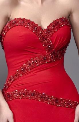 שמלת ערב שיפון  מחורזת