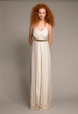 שמלת כלה עם עיגולי זהב