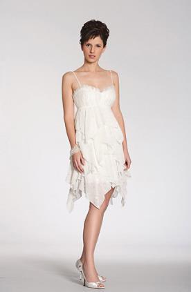 שמלת כלה שכבות שיפון עם כיווצים