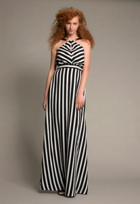 שמלת ערב פסים שחור לבן