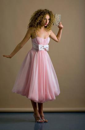 שמלת כלה ורודה עם כיווצים