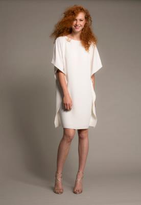 שמלת כלה מיני עדינה עם שרוולים