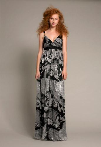 שמלת ערב משי מודפס בשחור לבן