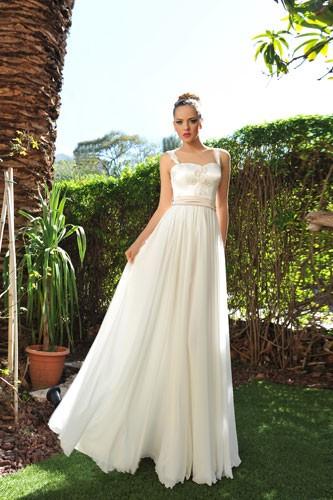 שמלת כלה בשילוב חלקים בצבע שמפניה