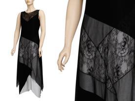 שמלת ערב שחורה עם חתך אפור