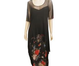 שמלת ערב צנועה משי מודפס