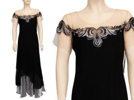 שמלת ערב שחורה עם משי אפור