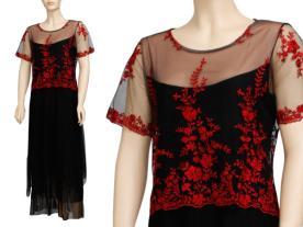 שמלת ערב צנועה תחרה אדומה